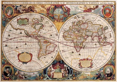 Antique Maps of the World Double Hemisphere Map Henricus Hondius c 1630